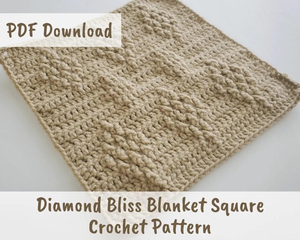 The Diamond Bliss Blanket Square Crochet Pattern | Friendship Blanket CAL