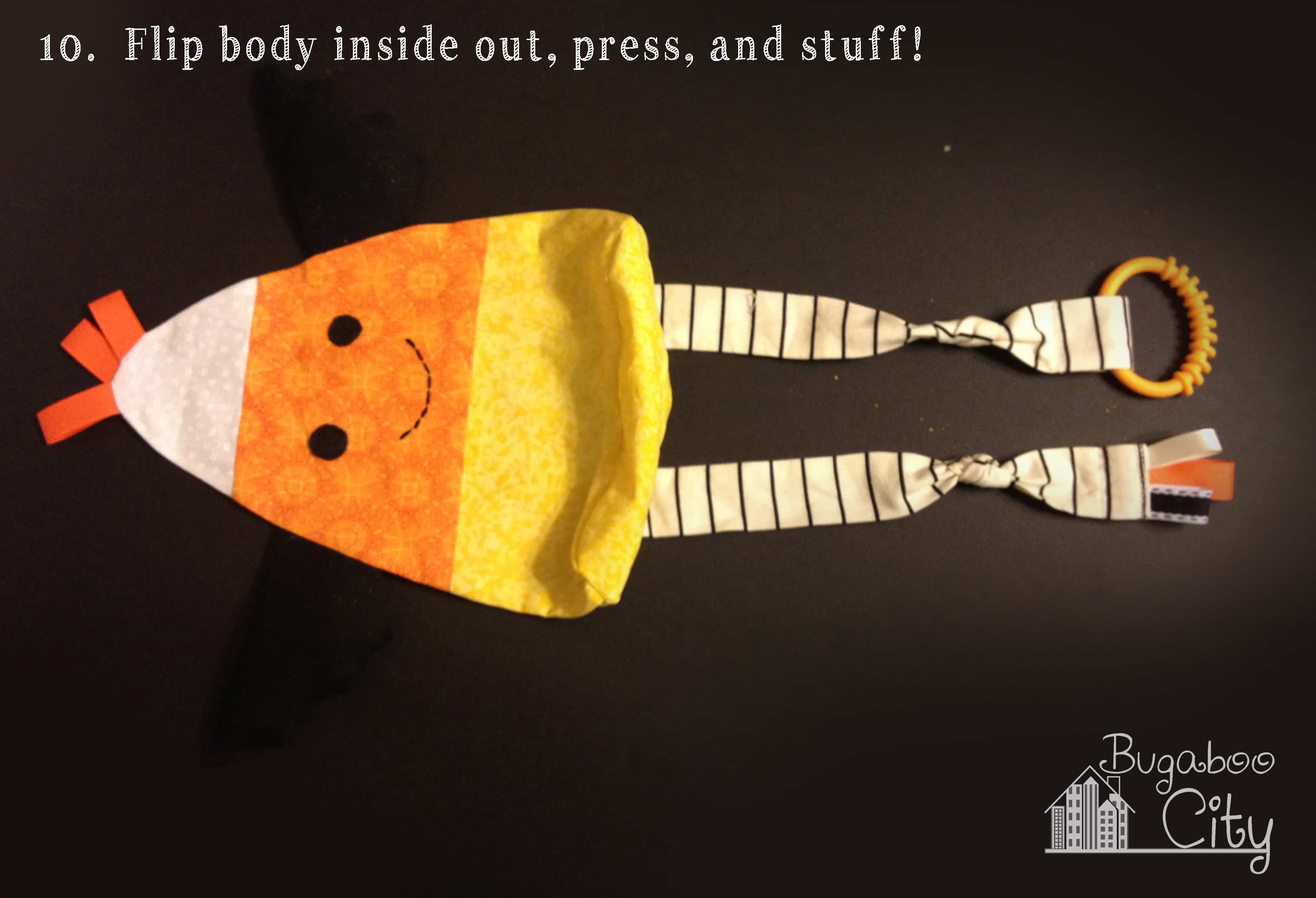 Step 10. Candy Corn Baby Toy Tutorial with free pattern