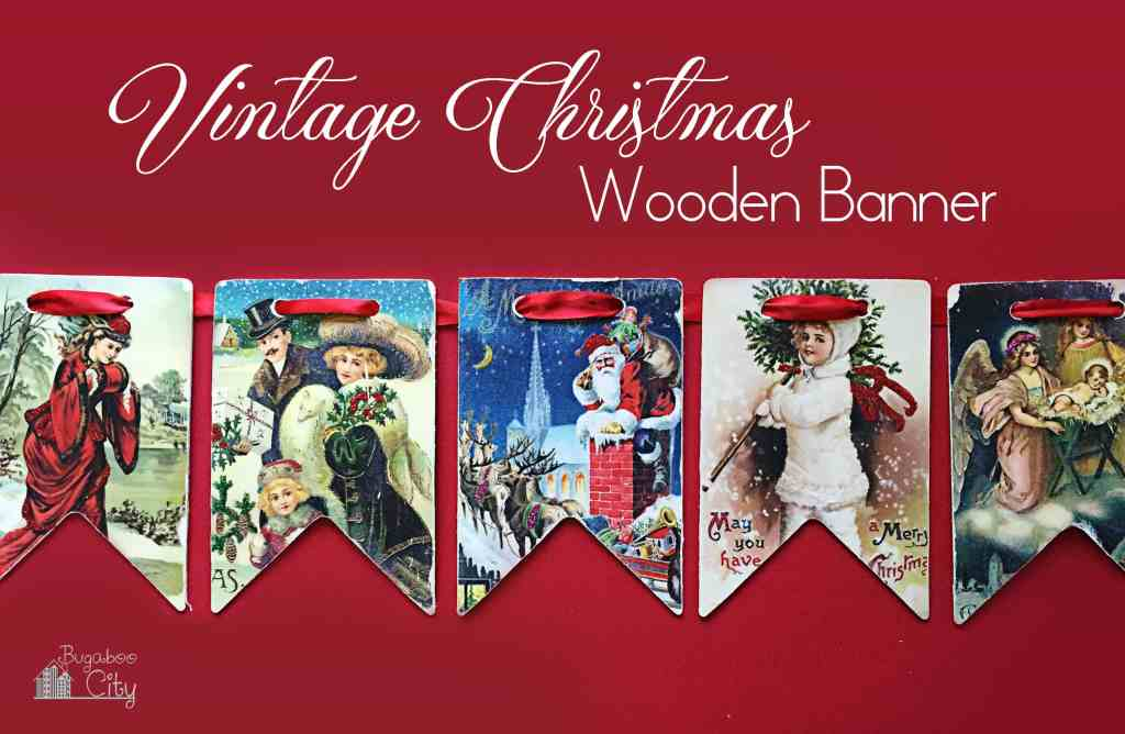 Vintage Christmas Wooden Banner BugabooCity