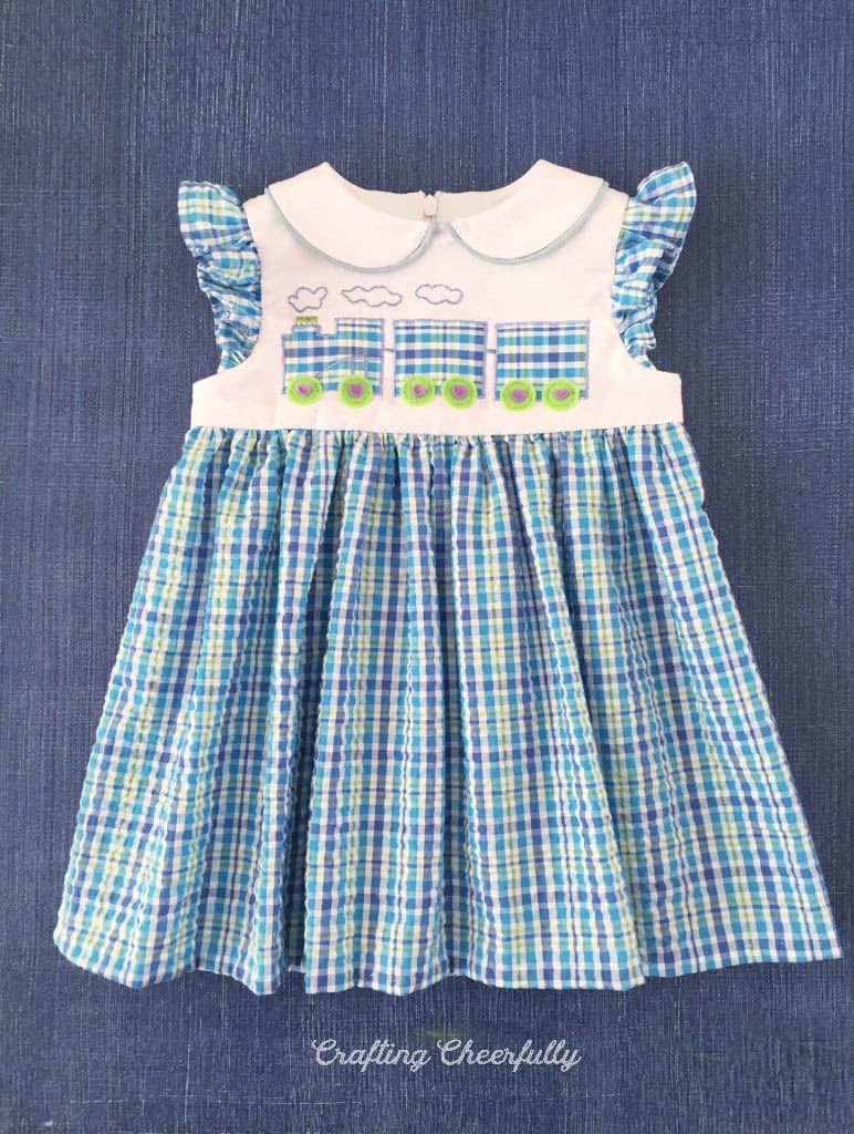 Choo Choo Train Baby dress with free applique pattern!