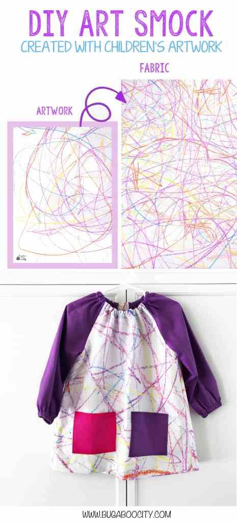 DIY Art Smock created with children's artwork