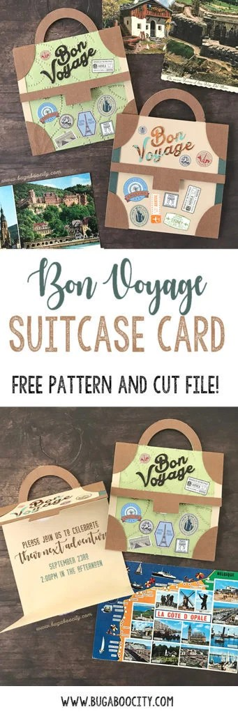 DIY Vintage Suitcase Card Free Pattern and Cut File