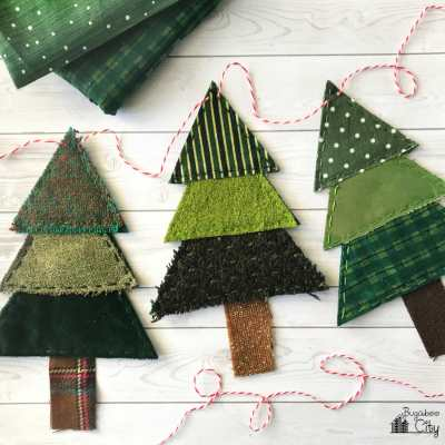 Christmas Tree Banner from Fabric Scraps