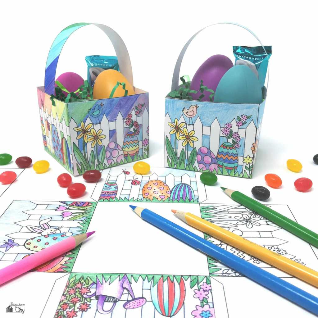 Color Your Own Easter Basket Free Printable