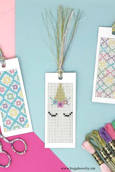 Unicorn Cross-Stitch Bookmarks with Free Pattern
