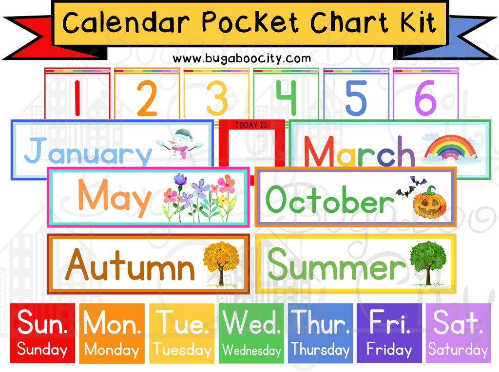 DIY Calendar Pocket Chart and School Calendar Cards