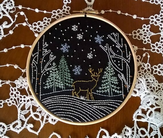Winter Landscape Embroidery Pattern by Fileuse d' Etoiles