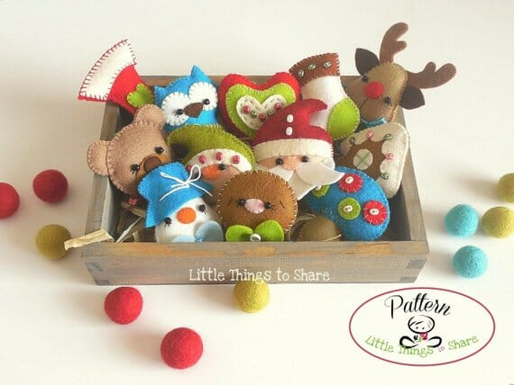 Felt Mini Christmas Ornaments by Little Things to Share
