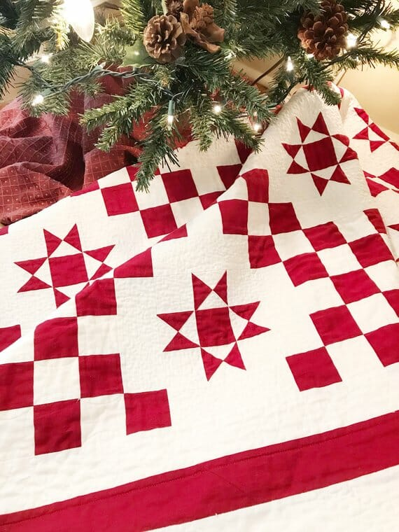 Red and White Quilt Pattern by Maple Cottage Designs