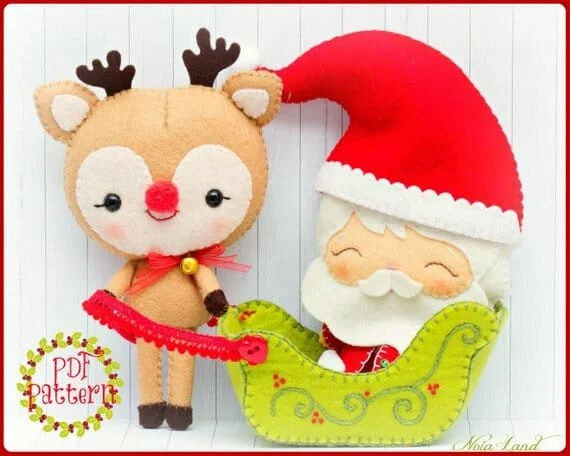 Reindeer and Santa Felt Pattern Noia Land