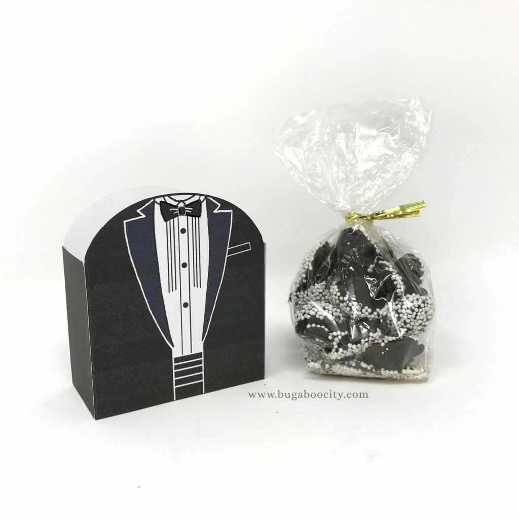 DIY Groom Treat Box, tuxedo treat box, 12 menswear styles