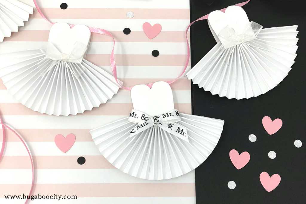 DIY Paper Wedding Dress Banner with Free Template