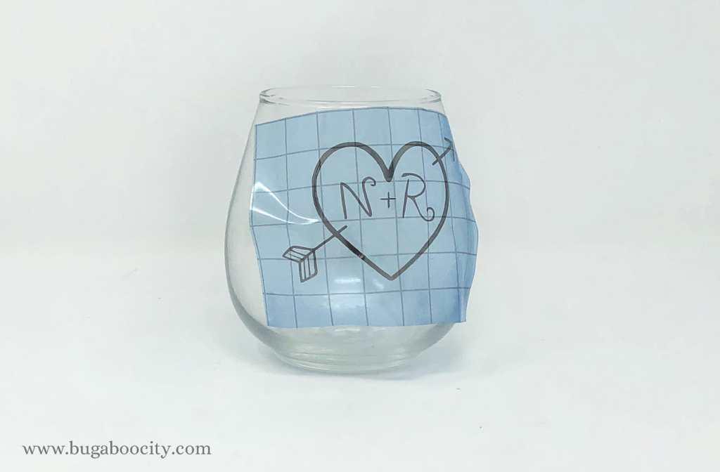 DIY Wedding Shower Wine Glasses with Free SVG Cut File