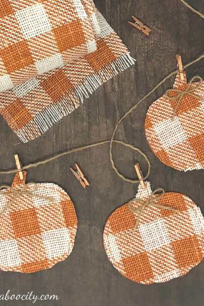 DIY Pumpkin Banner – with Buffalo Check Burlap