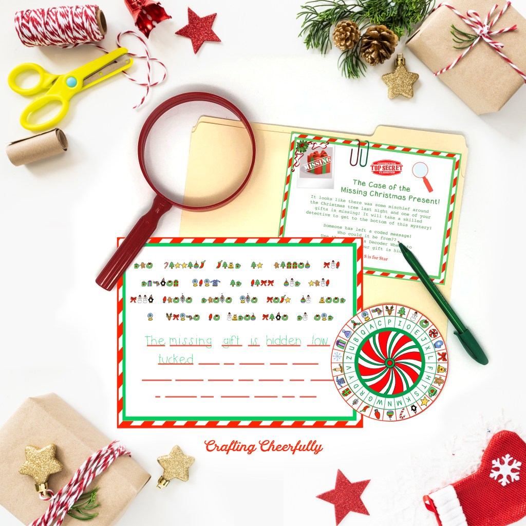 The Case of the Missing Gift printables laying on a white table with a red magnifying glass and Christmas knick knacks around it.