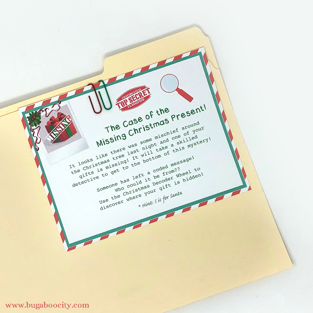 Free printable Christmas present scavenger hunt and Decoder wheel