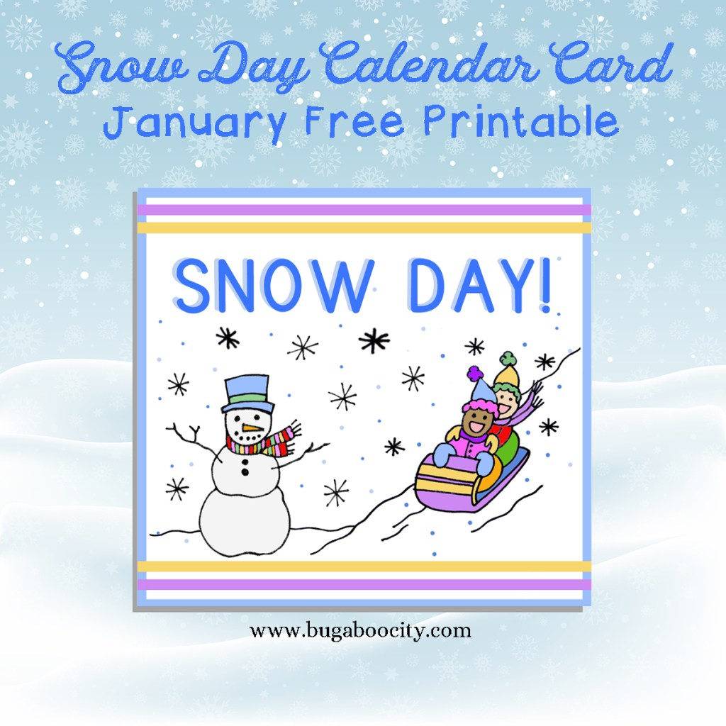 Free Calendar Card Snow Day