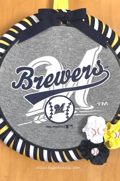 DIY Baseball Wreath – From Upcycled Baby Clothes