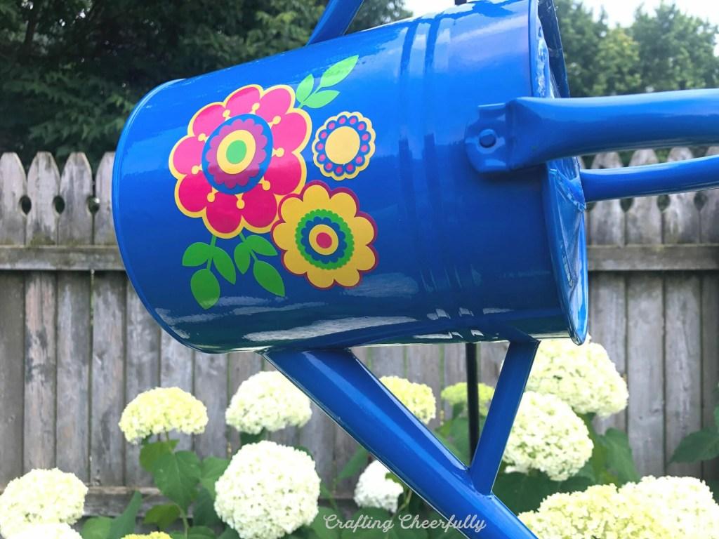 DIY Watering Can Garden Ornament with Cricut Outdoor Vinyl