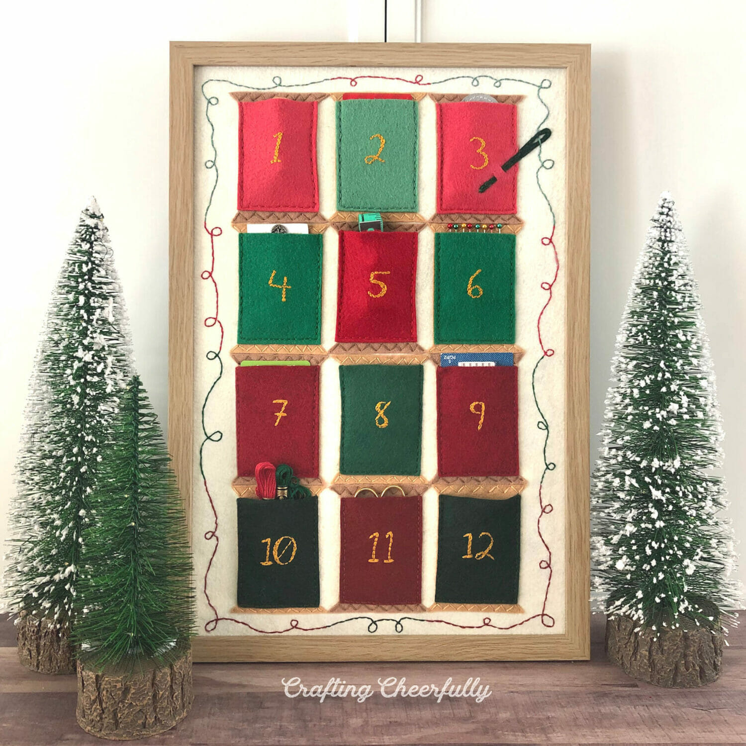 12 Spools of Christmas Felt Embroidery Pattern