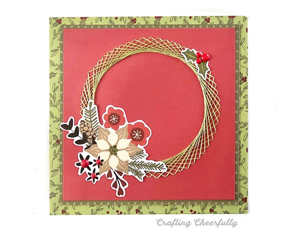 Embroidered Wreath DIY Holiday Card with Free Template