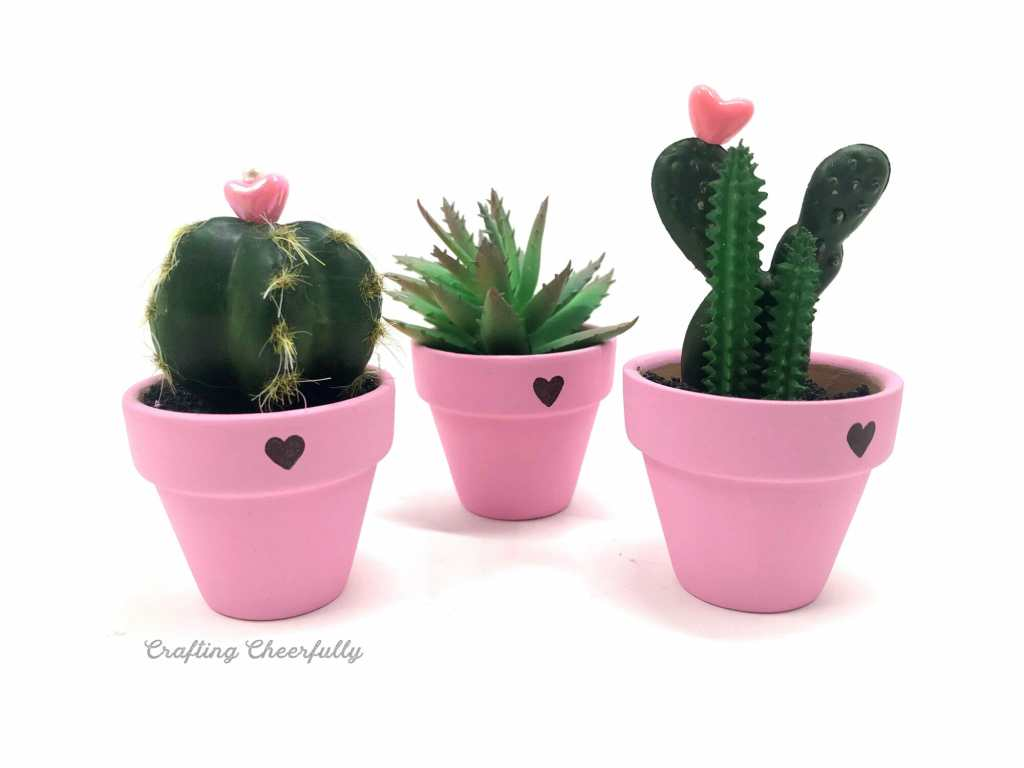 Three small cactus plants in three small pink flower pots with pink heart beads on top!