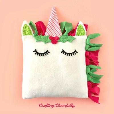 DIY Holiday Unicorn Pillow – Free Sewing Pattern!