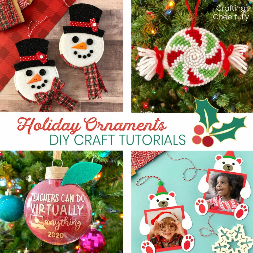 Picture of four Christmas ornaments including snowmen embroidery hoop ornaments, cross stitch peppermint ornaments, a red glitter apple ornament for teachers and paper polar bear ornaments.
