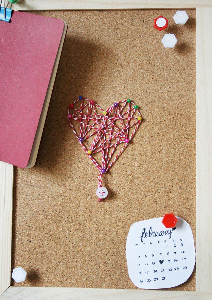 Thread heart art on cork   Crafting Fingers