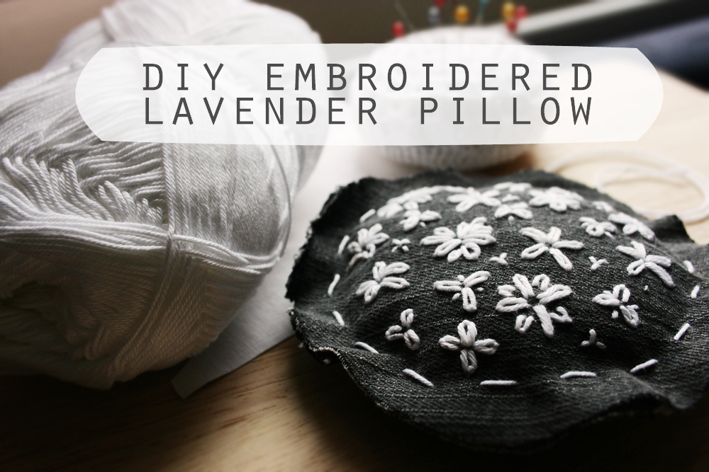 DIY embroidered denim lavender pillow craftingfingers.co.uk #embroidery