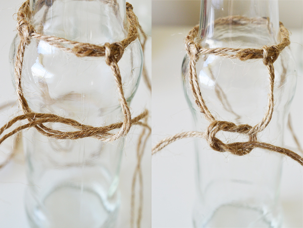 Knotted macrame bottle vases #DIY #macrame
