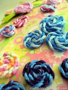 yarn rosettes