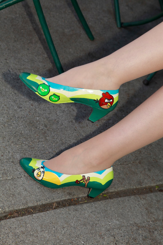 painted angry bird shoes
