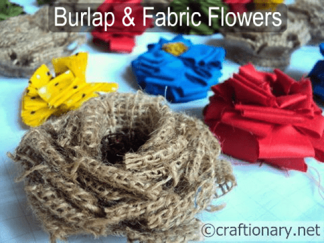 making flowers burlap