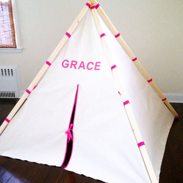 Easy teepee make tent with fabric and wood frame