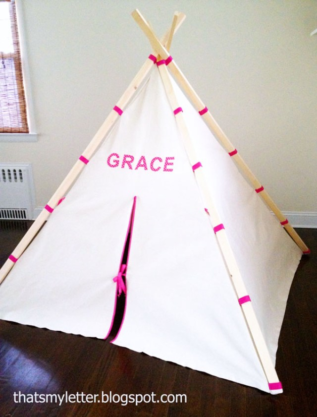 Easy-teepee-tent-with-fabric-and-wood-frame