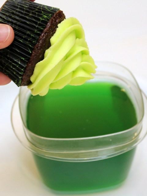 green glowing cupcakes
