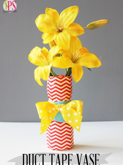 DIY duct tape vases