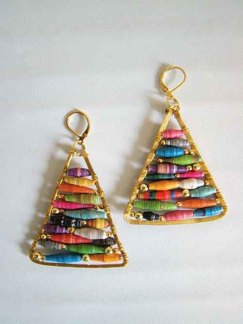 handmade gift DIY earrings with paper rolled beads