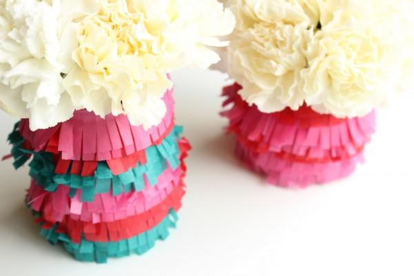 paper frill vases tutorial