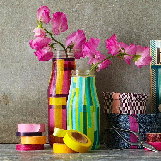 tape covered vases