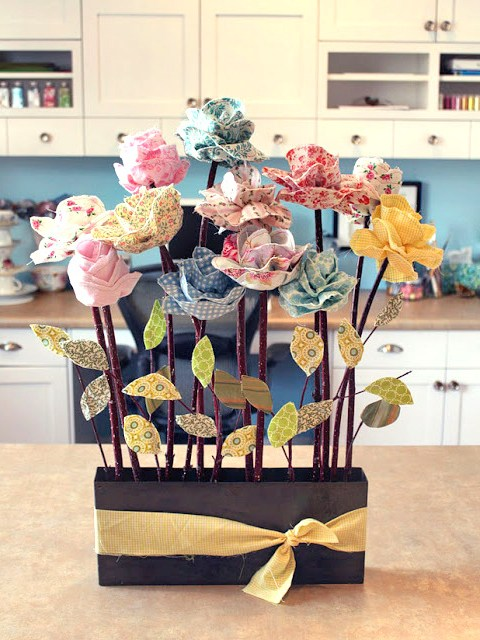 DIY fabric flowers pot mom