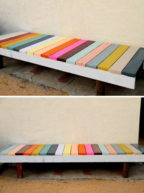 DIY painted garden bench