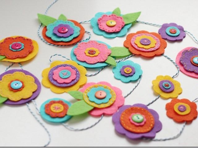 felt flowers garland tutorial