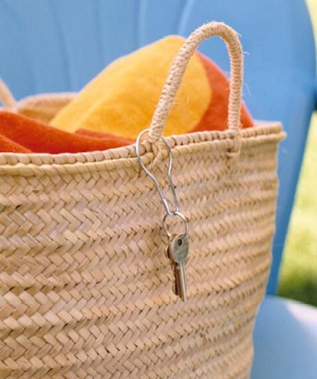 key ring on beach bag