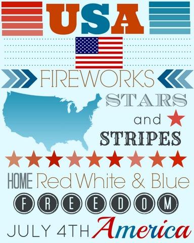 4th july usa america printable