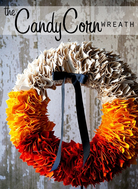 candy corn wreath tutorial