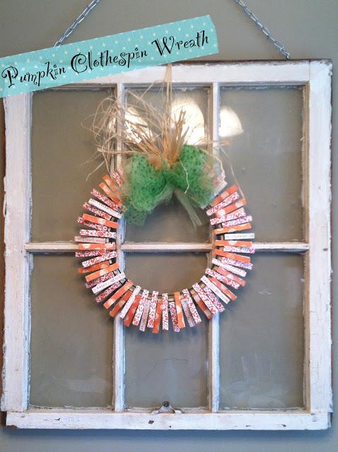 pumpkin clothespin wreath
