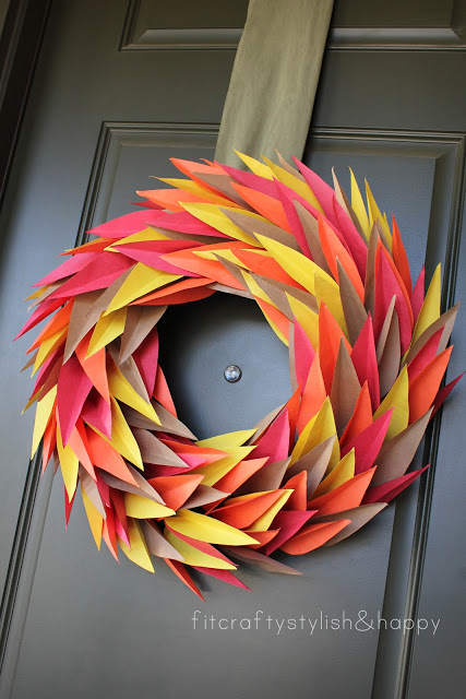 paper thanksgiving fall wreath