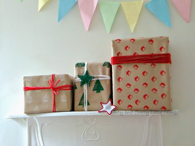 DIY hand stamped wrapping paper